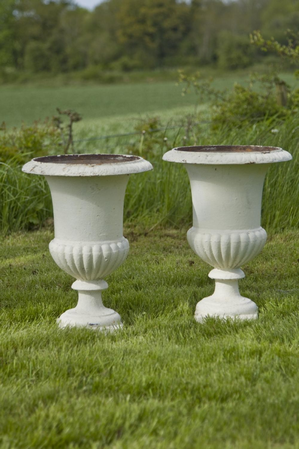 Pair of Antique Cast Iron Campana Urns