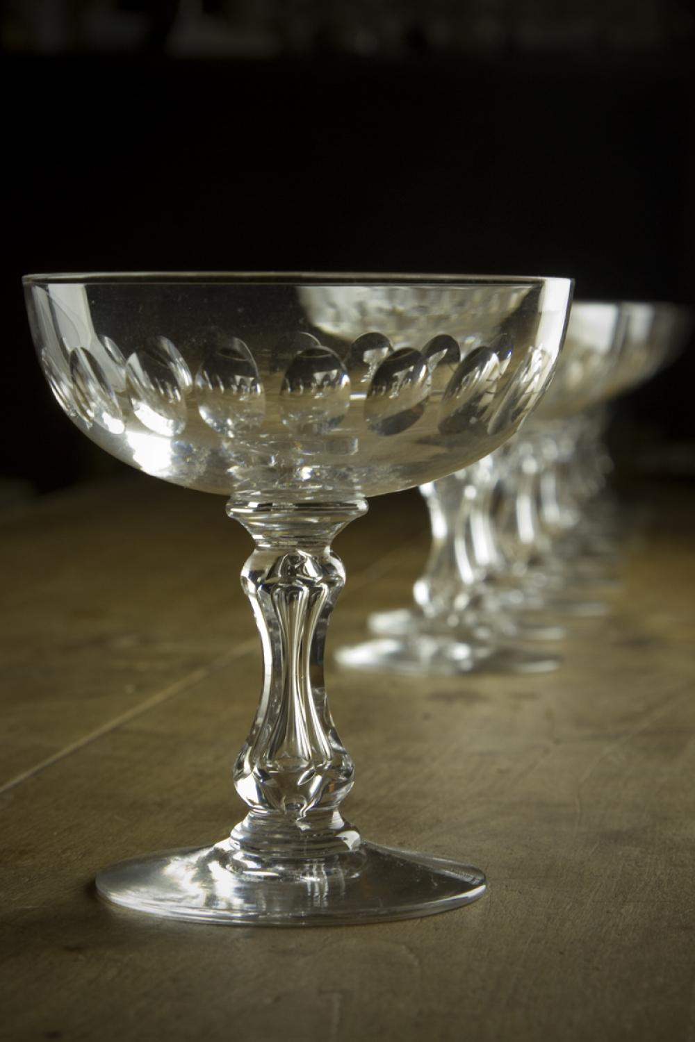 Antique French Crystal Champagne Saucers