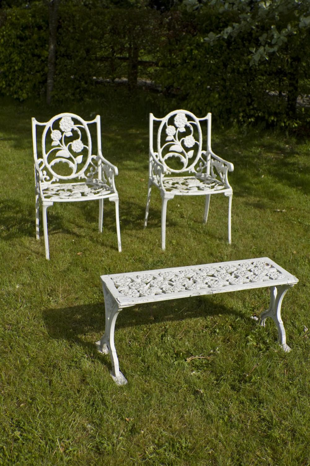 Vintage Cast Iron Chairs and table