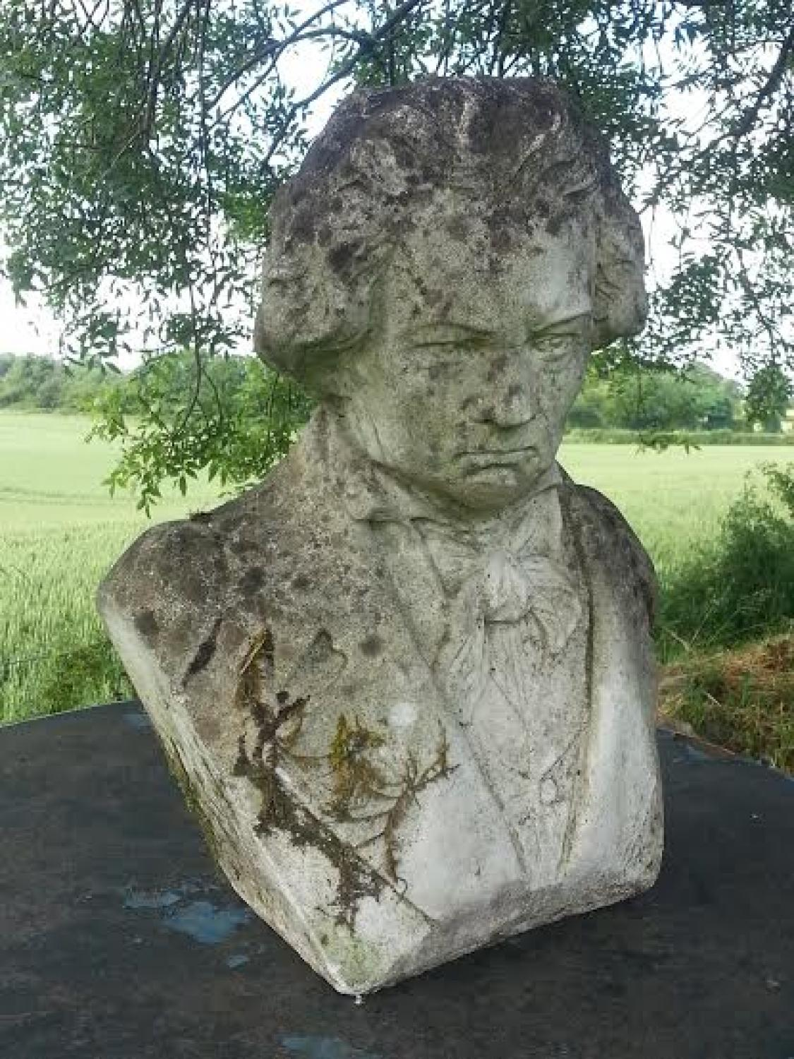 Vintage Composite Stone Bust of Beethoven