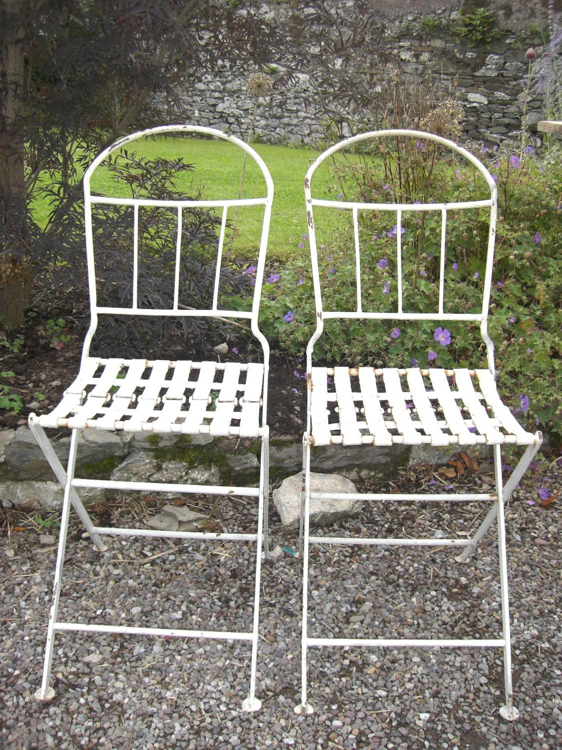 Pair Of Antique French Folding Garden Chairs In Architectural Gardenalia