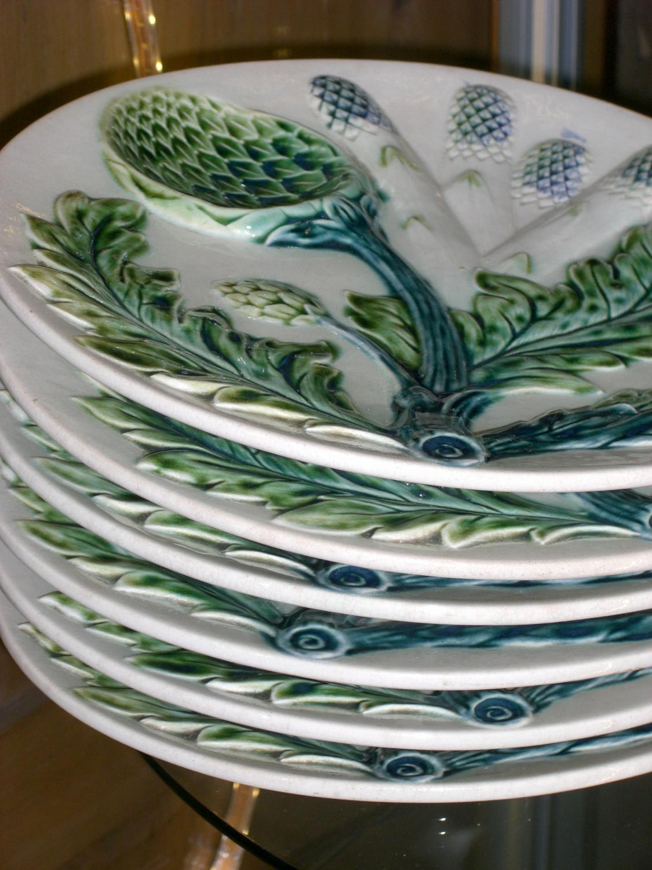 Antique French Majolica Asparagus Plates