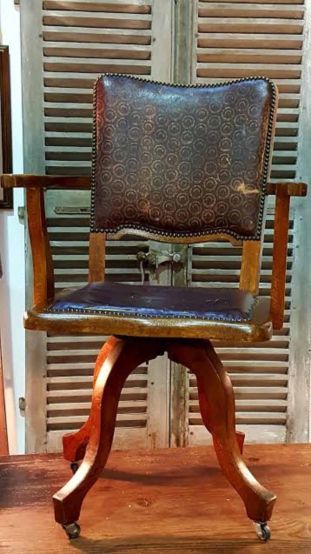 Antique Edwardian Oak Office Swivel Chair