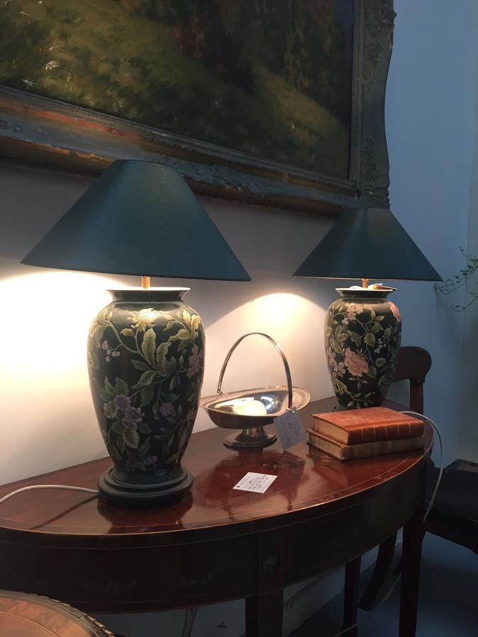 Pair of ceramic floral lamps and silk shades