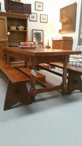 French Oak Kitchen Table & Benches