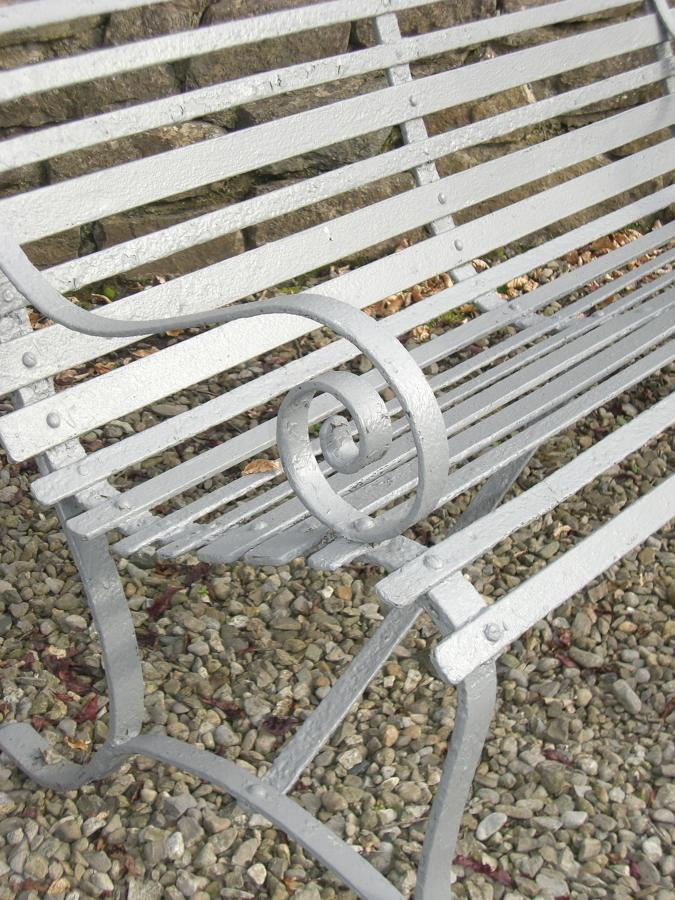 19th C French Strap Iron Garden Bench
