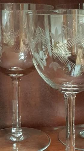 Set of 6 Engraved 1940's French Wine Glasses