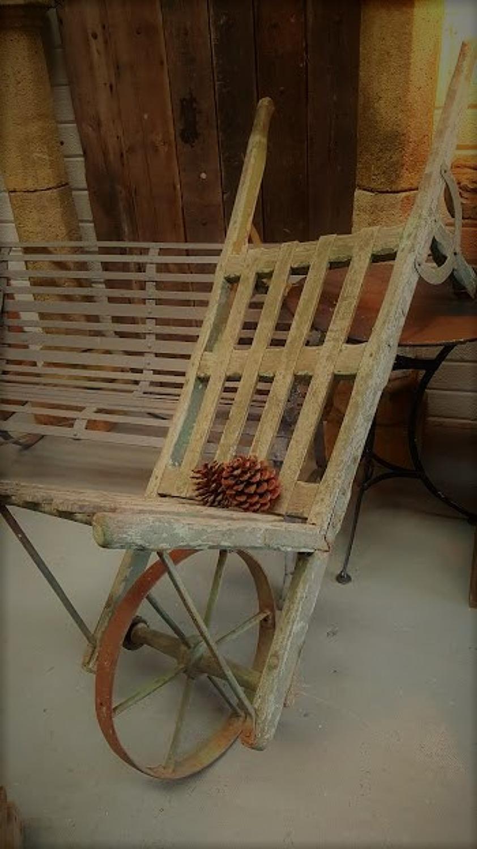 Antique French Garden Wheel Barrow