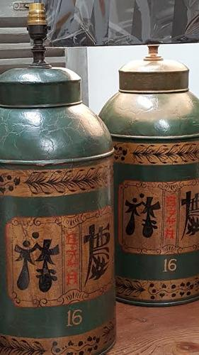 Pair of Contemporary tea caddy lamps