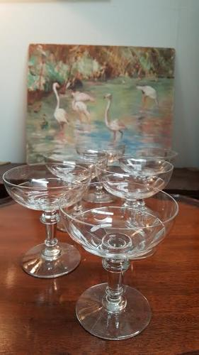 Set of 6 antique French Champagne Glasses