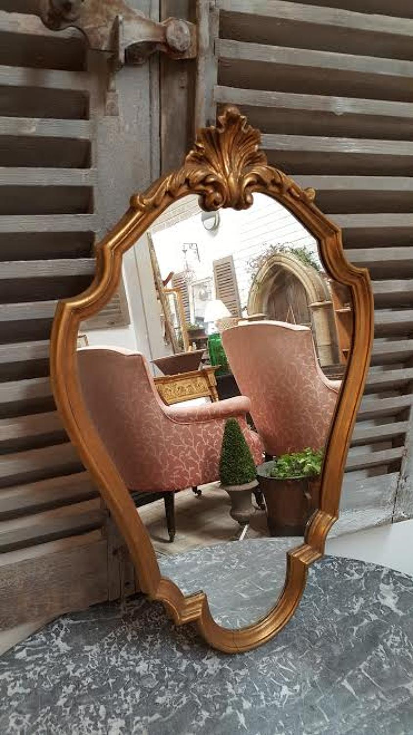 Vintage Shaped Gilt French Mirror