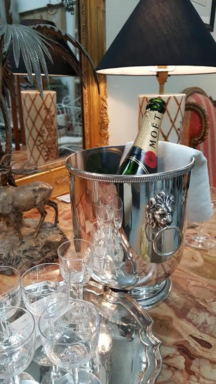 Vintage French Silver Plate Champagne or Wine Cooler