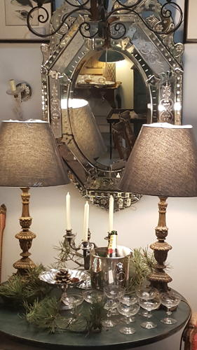 Pair of French carved gilt wood candle lamps