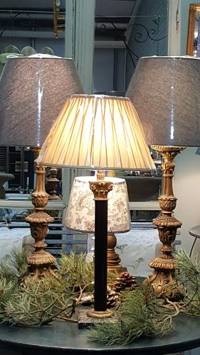 Antique French Corinthian Colum Lamp on marble base