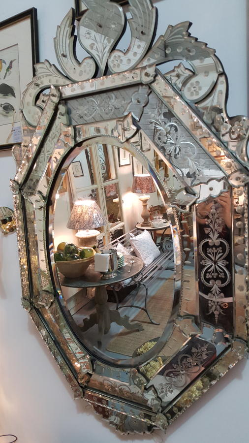 Impressive 19th C Venetian Cushion Mirror