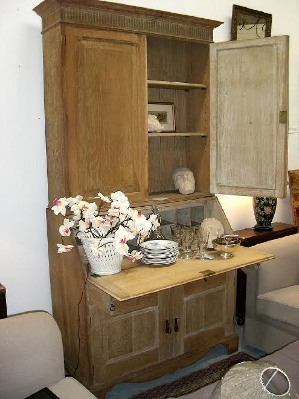Antique Limed Oak Art Deco bureau bookcase