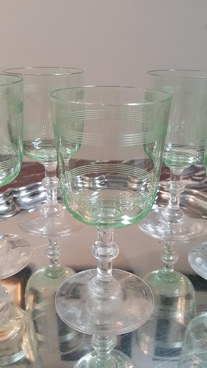Set of 6 French coloured crystal glasses