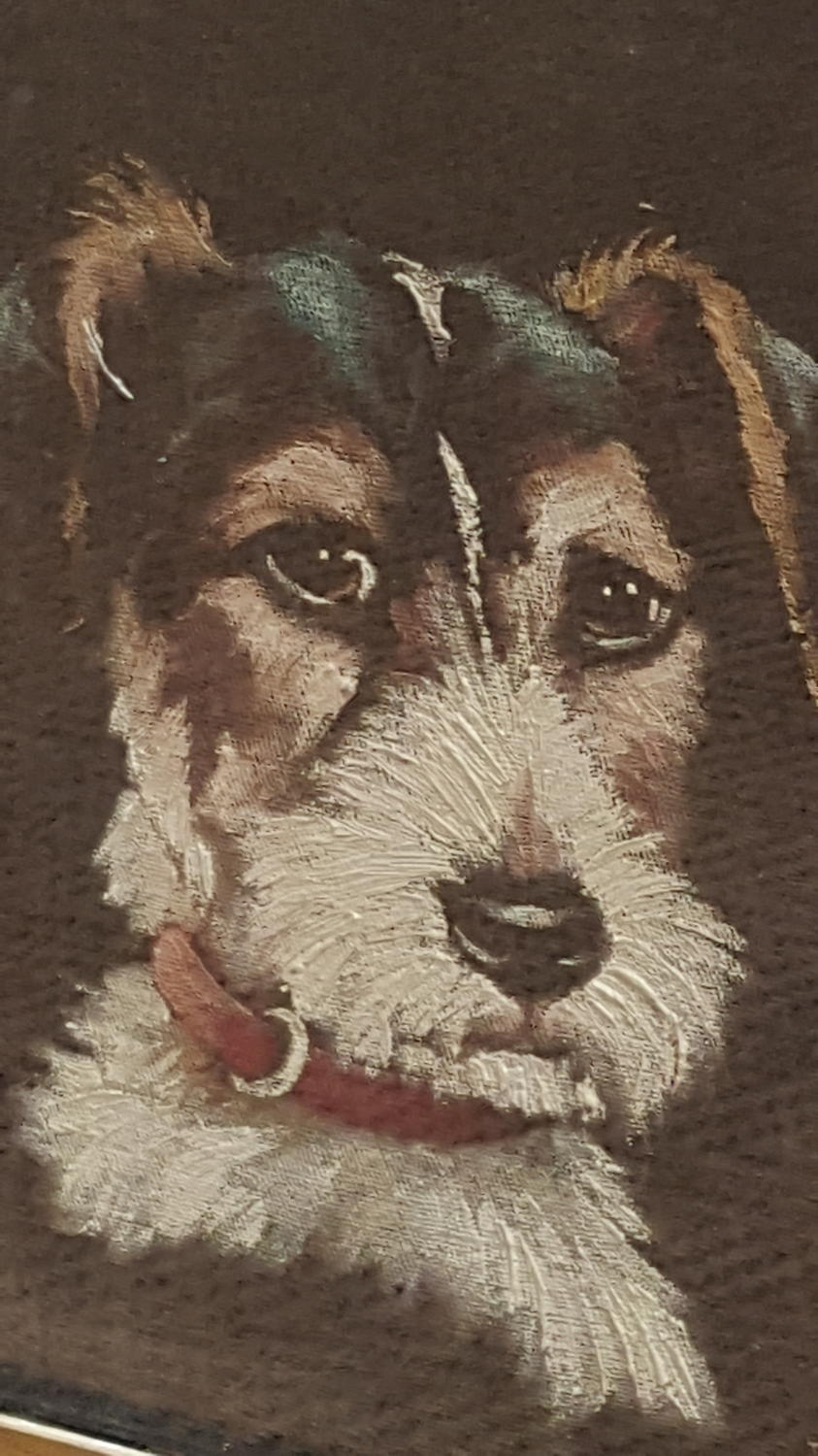 1930's Painting Oil on Velvet of a very cute dog