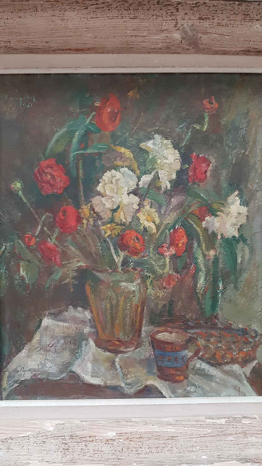 French oil on board Vase of flowers