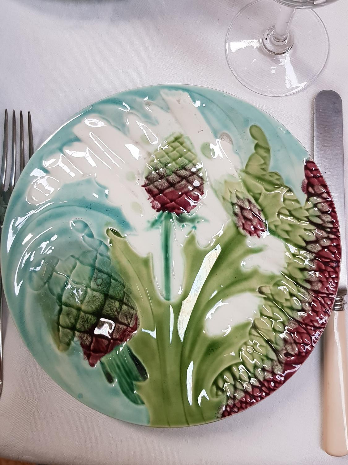 19th c French Majolica Asparagus Plates