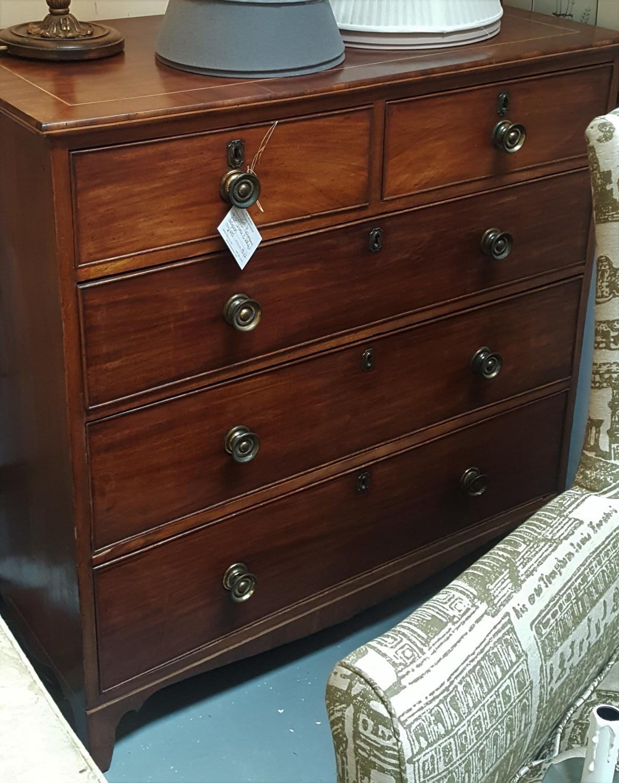 19thC mahogany inlaid chest of drawers