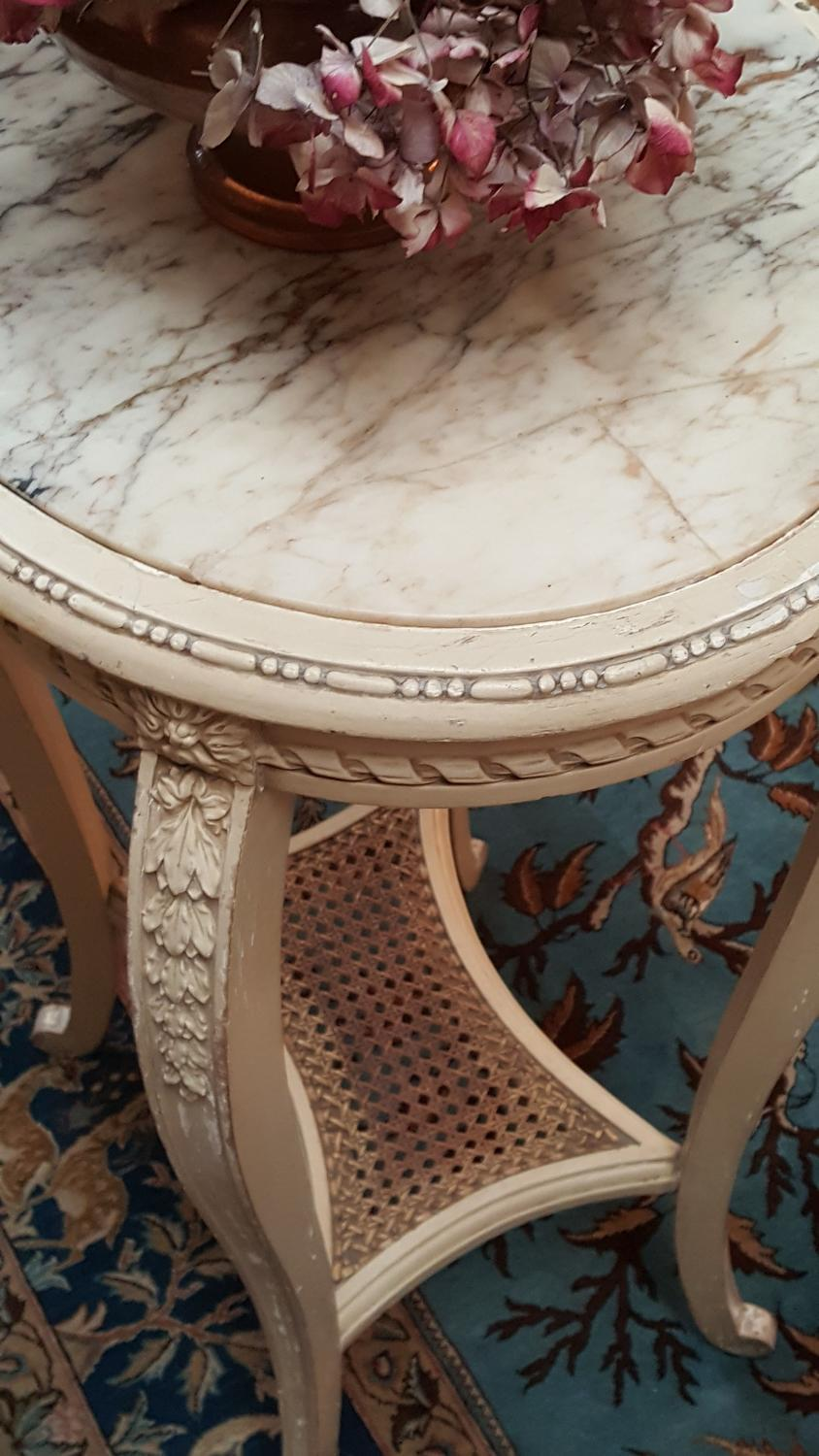 Vintage French marble top plant table