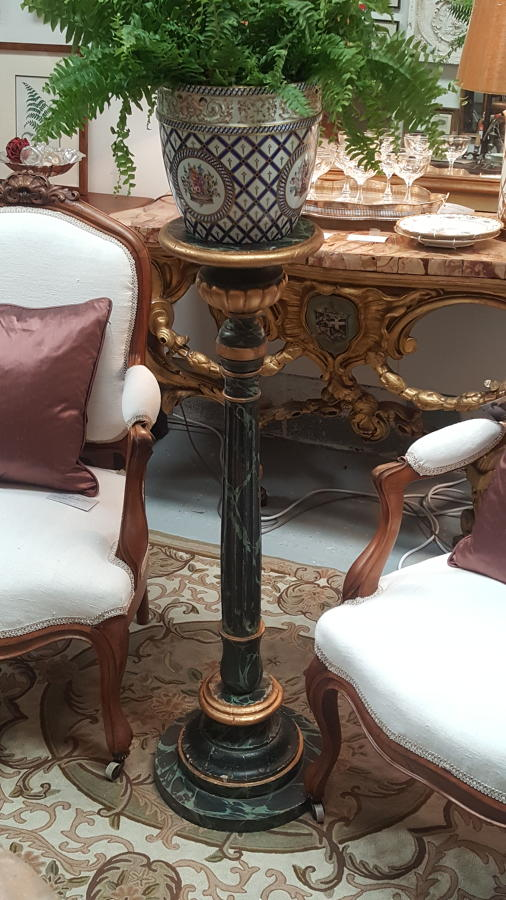 19th Century French faux marble torchere plant stand