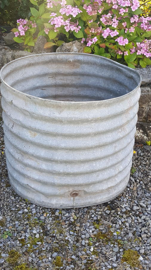 Large corrugated zinc tub/water butt