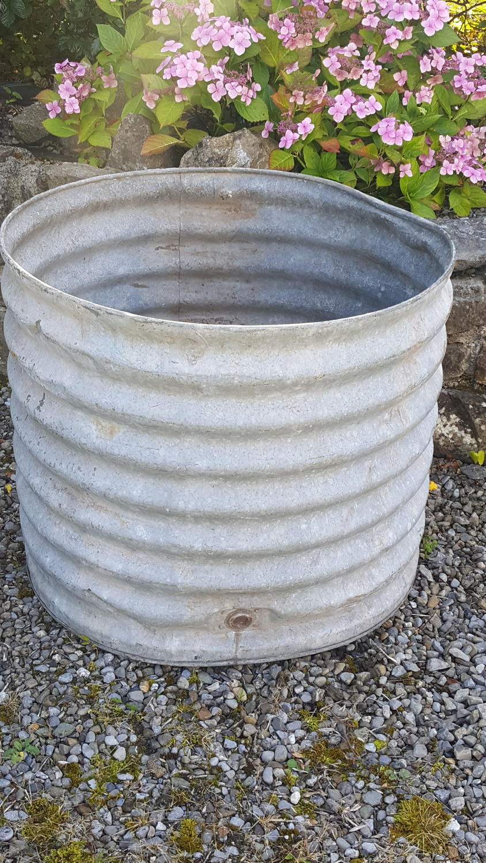 Large corrugated zinc tub/water butt