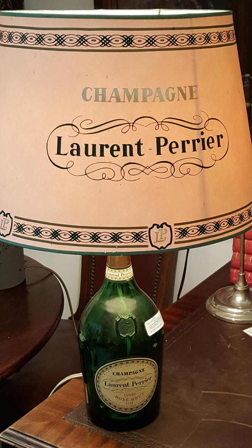 Vintage Laurent Perrier lamp and shade