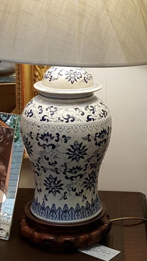 Vintage blue and white ginger jar lamp