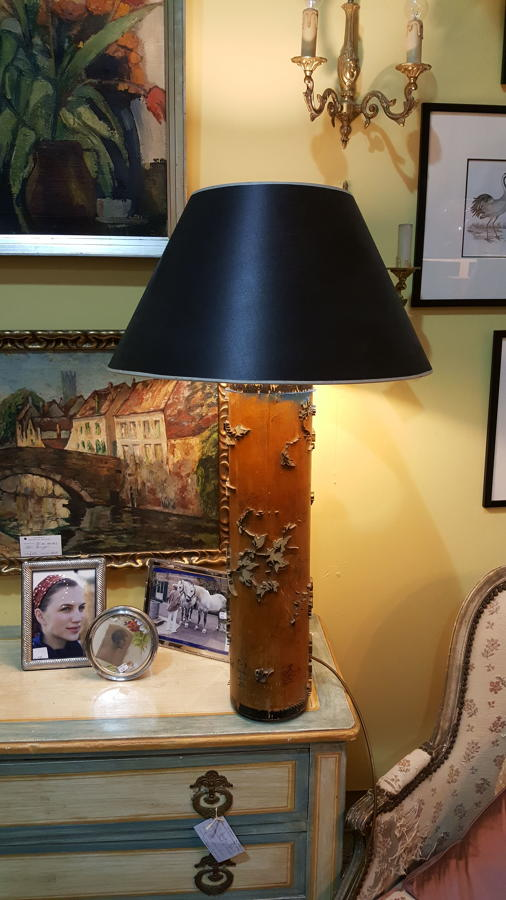 Vintage wallpaper roller lamp base