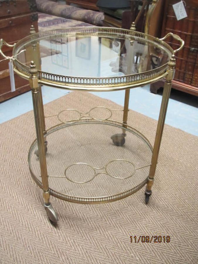 Mid century French glass and brass trolley