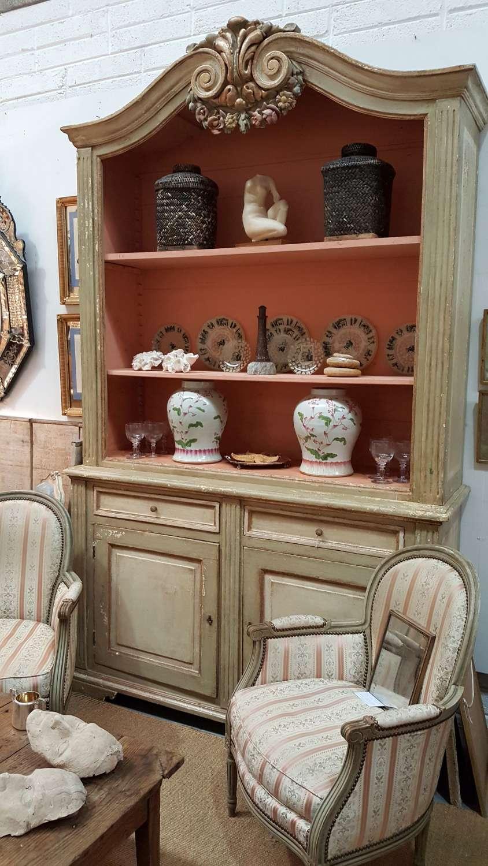Antique French painted bookcase original paint