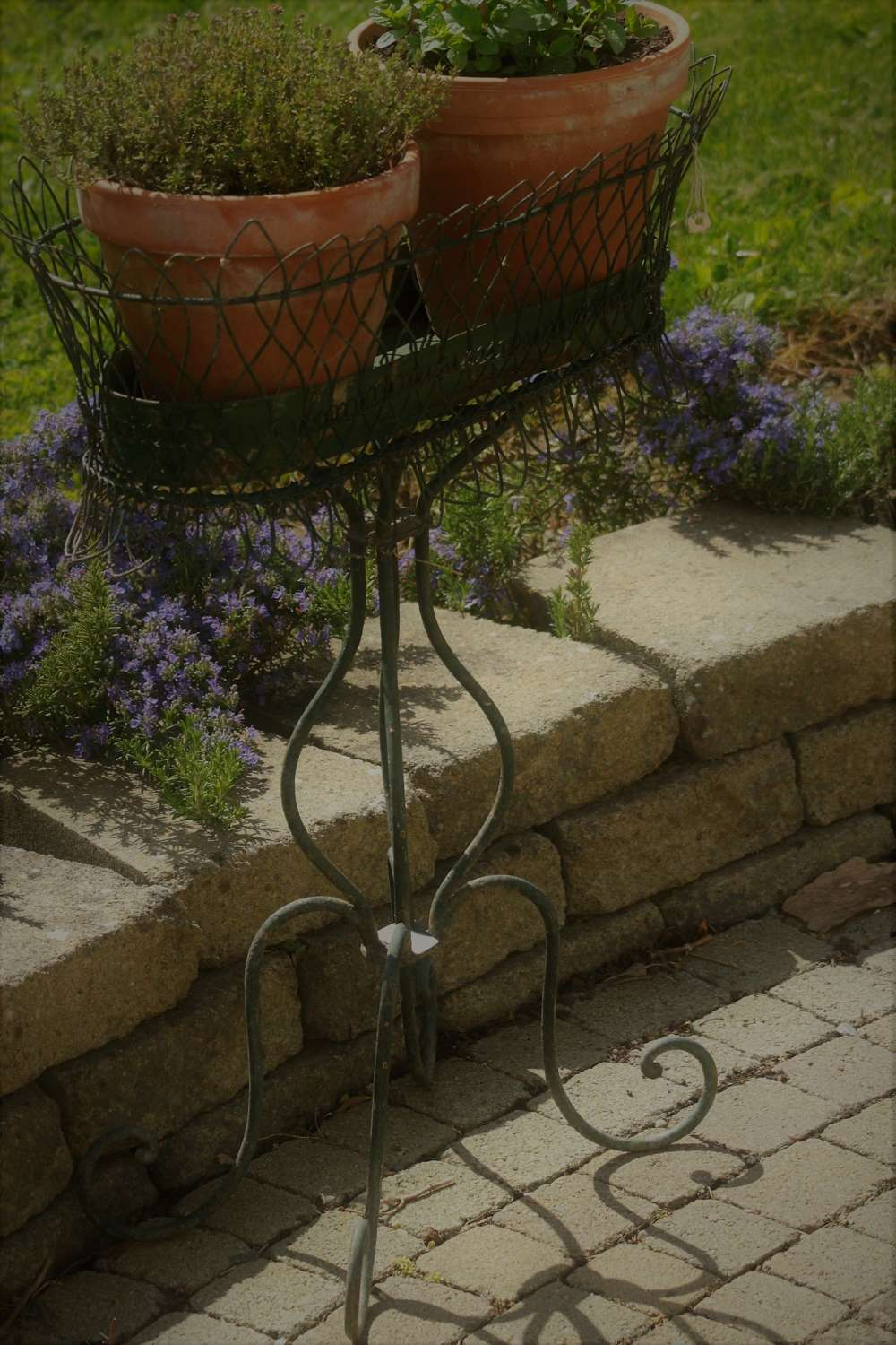 Late 19th C French wirework jardinere stand