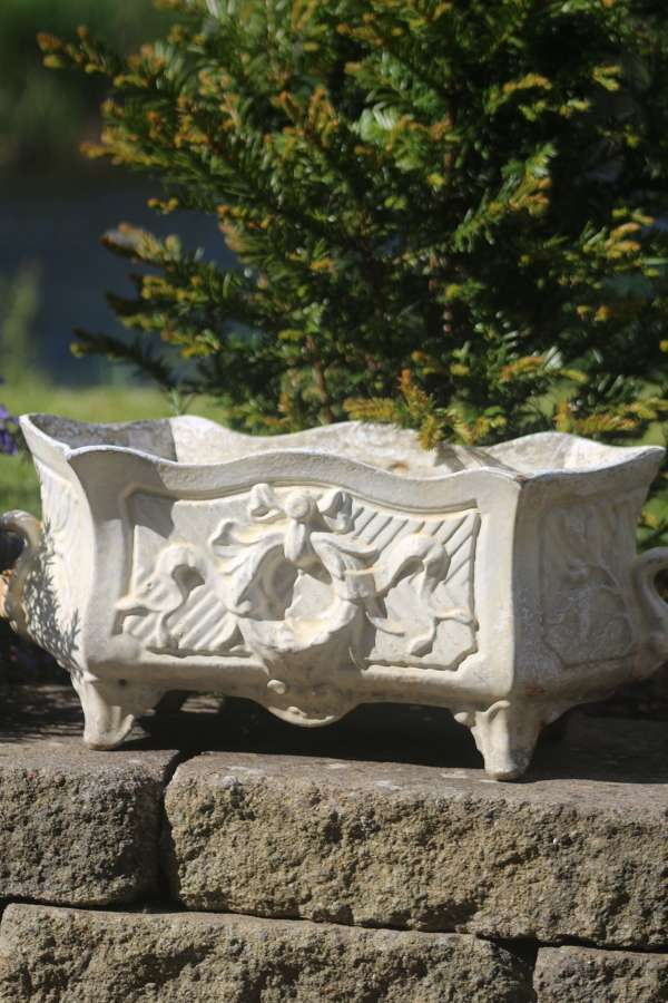 Vintage French cast iron jardinere planter