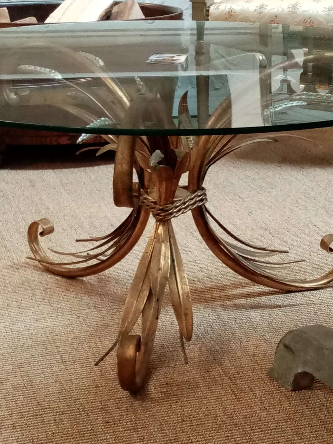 Mid century French sheaf of wheat occasional table