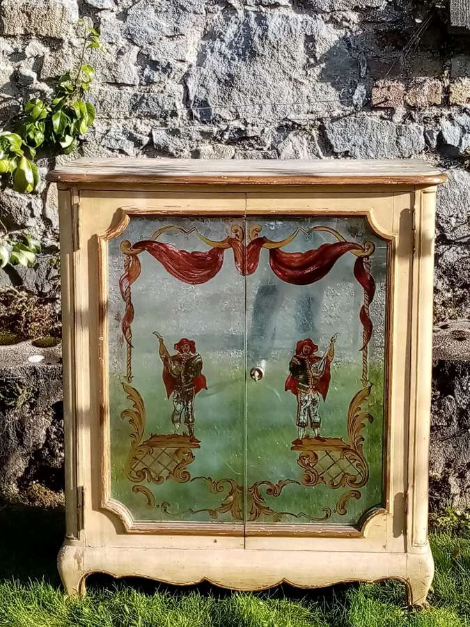 French 1930's verre eglomise cupboard