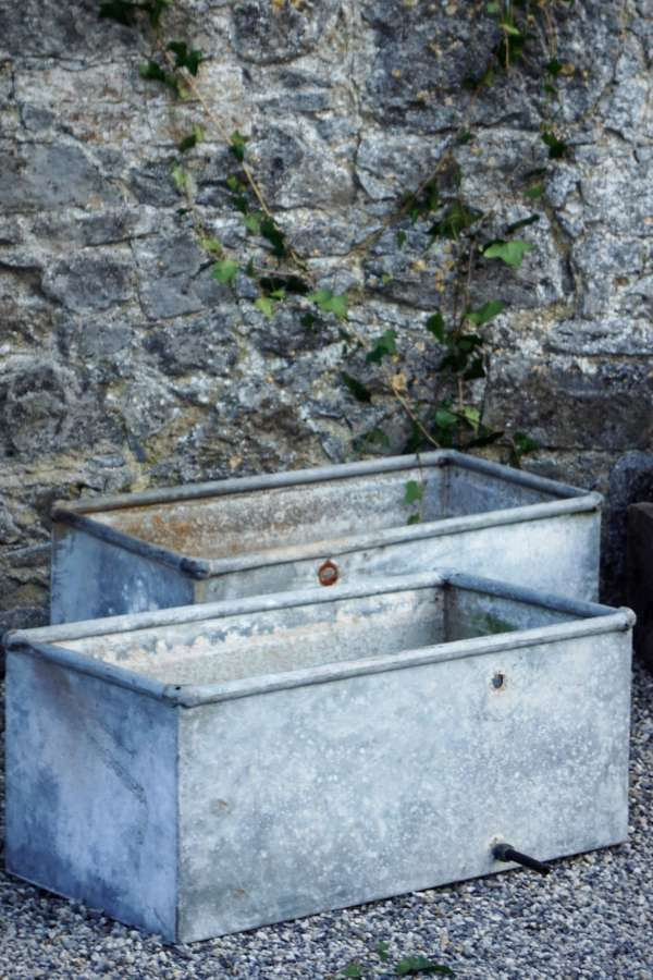 Pair of zinc troughs