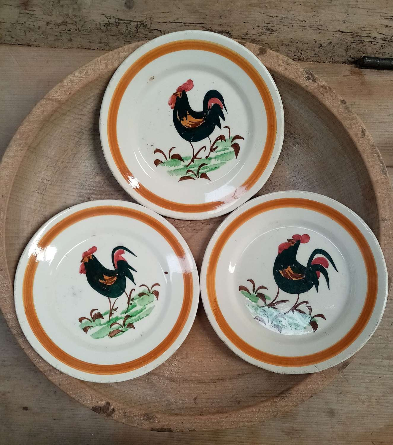 Three Antique French hen plates