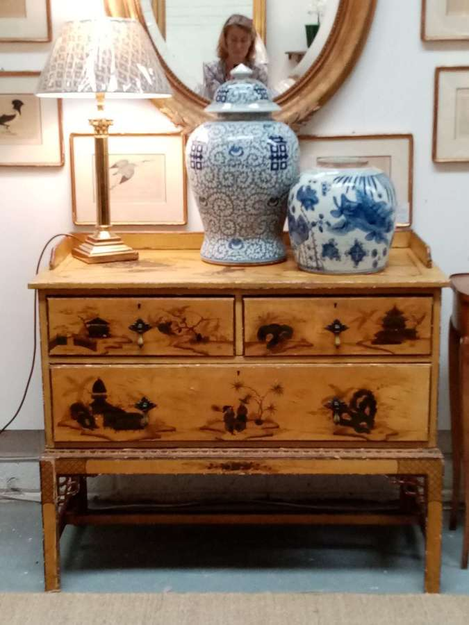 Early 20th century Chinoiserie chest on stand
